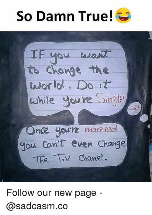 Memes, True, and World: So Damn True!  IF you  to Change the  world, Do it  while Jure Single  nce youre married  you Con't even Change  ane. Follow our new page - @sadcasm.co