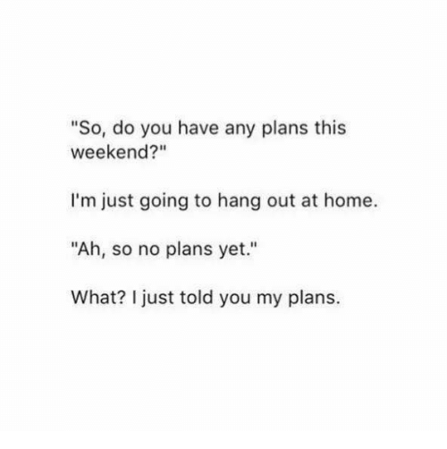 "Dank, Home, and 🤖: ""So, do you have any plans this  weekend?""  I'm just going to hang out at home  ""Ah, so no plans yet.""  What? I just told you my plans."