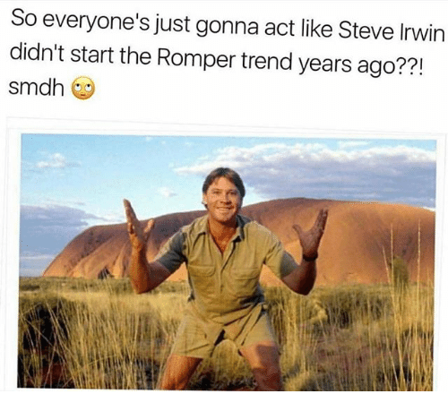 Memes, Steve Irwin, and 🤖: So everyone's just gonna act like Steve Irwin  didn't start the Romper trend years ago??!  Sm