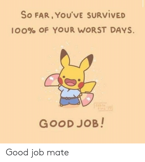 Good, Job, and Worst: So FAR, YOU'VE SURVIVED  100% OF YOUR WORST DAYS.  GOOD JOB! Good job mate