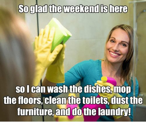 Laundry, Memes, and The Weekend: So glad the weekend ts here  so lcan wash the dishes.mon  the floors,clean the toilets.dust the  furnitue and dothe laundry?