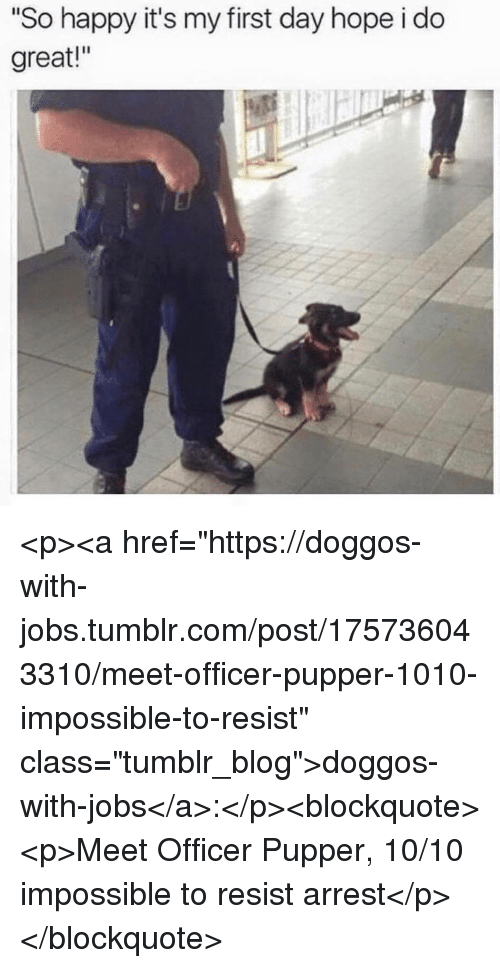 """Tumblr, Blog, and Happy: """"So happy it's my first day hope i do  great!"""" <p><a href=""""https://doggos-with-jobs.tumblr.com/post/175736043310/meet-officer-pupper-1010-impossible-to-resist"""" class=""""tumblr_blog"""">doggos-with-jobs</a>:</p><blockquote><p>Meet Officer Pupper, 10/10 impossible to resist arrest</p></blockquote>"""