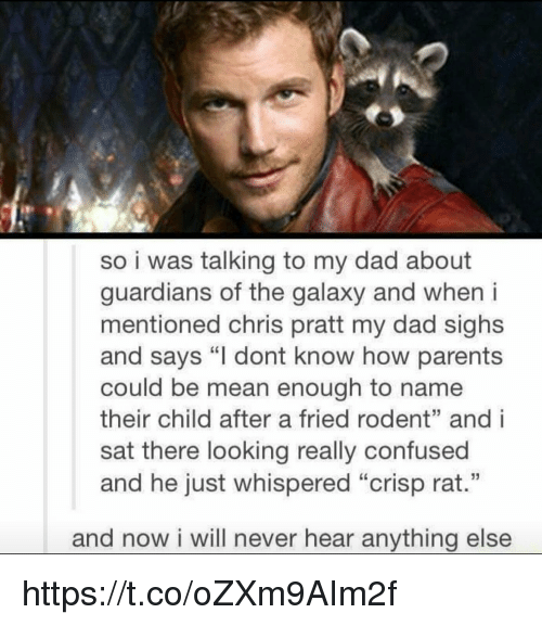 "andie: so i was talking to my dad about  guardians of the galaxy and when i  mentioned chris pratt my dad sighs  and says ""I dont know how parents  could be mean enough to name  their child after a fried rodent"" andi  sat there looking really confused  and he just whispered ""Crisp rat.""  and now i will never hear anything else https://t.co/oZXm9AIm2f"