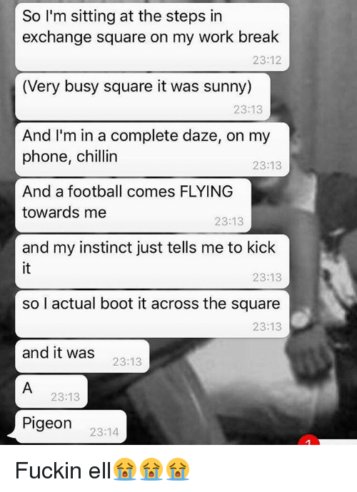 Football, Phone, and Work: So I'm sitting at the steps in  exchange square on my work break  (Very busy square it was sunny)  And I'm in a complete daze, on my  23:12  23:13  phone, chillin  23:13  And a football comes FLYING  towards me  23:13  and my instinct just tells me to kick  it  so l actual boot it across the square  and it wa:s  23:13  23:13  23:13  23:13  Pigeon 2314 Fuckin ell😭😭😭