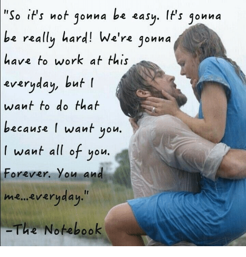 Notebook, Work, and Forever: 'So iPs not gonna be easy. IFs jonna  be  really hard! We're jonna  have to work at this  everyaau, but l  everyday, but  want to do that  because l want yolu  want all of you.  Forever. You and  me... everyday.  The Notebook