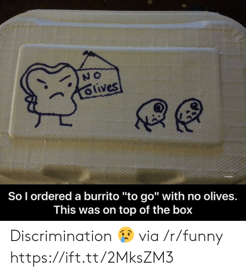 """Olives: So l ordered a burrito """"to go"""" with no olives.  This was on top of the box Discrimination 😢 via /r/funny https://ift.tt/2MksZM3"""