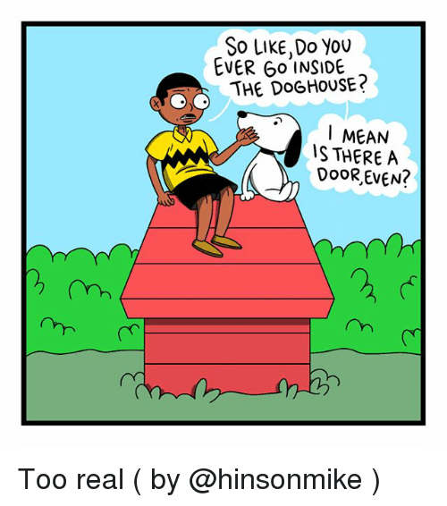 doghouse: So LIKE,Do you  EVER Go INSIDE  THE DOGHOUSE?  I MEAN  IS THERE A Too real ( by @hinsonmike )