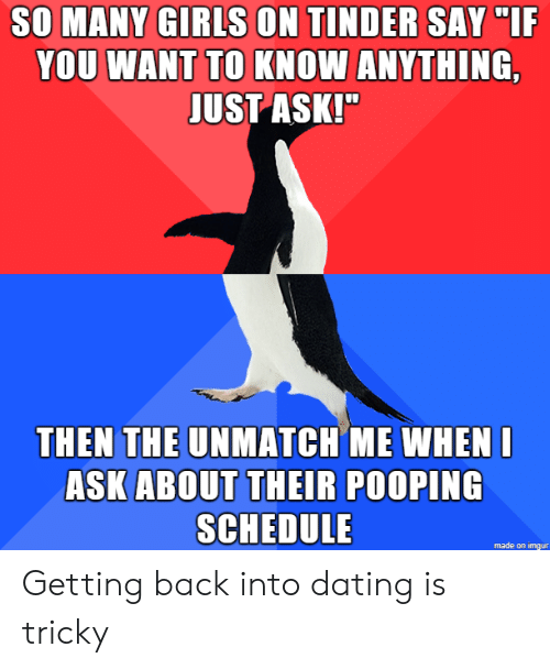 "Dating, Girls, and Tinder: SO MANY GIRLS ON TINDER SAY ""IF  YOU WANT TO KNOW ANYTHING,  JUST ASK!""  THEN THE UNMATCH ME WHENI  ASK ABOUT THEIR POOPING  SCHEDULE  made on imgur Getting back into dating is tricky"