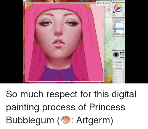 digital painting: So much respect for this digital painting process of Princess Bubblegum (🎨: Artgerm)
