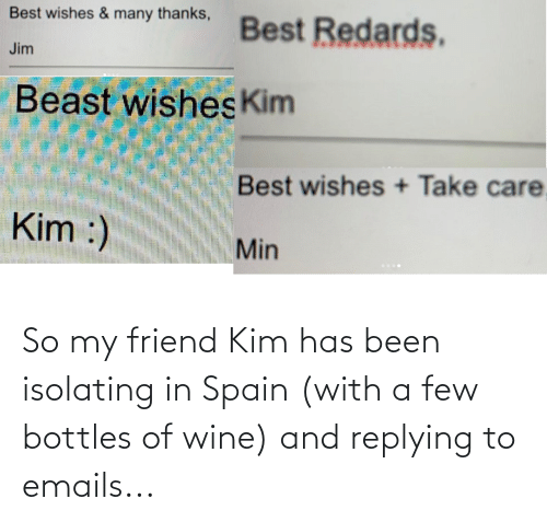 Replying: So my friend Kim has been isolating in Spain (with a few bottles of wine) and replying to emails...