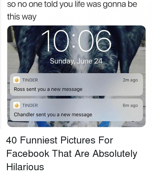 Facebook, Life, and Tinder: so no one told you life was gonna be  this way  10:06  Sunday, June 24  TINDER  2m ago  Ross sent you a new message  TINDER  6m ago  Chandler sent you a new message 40 Funniest Pictures For Facebook That Are Absolutely Hilarious
