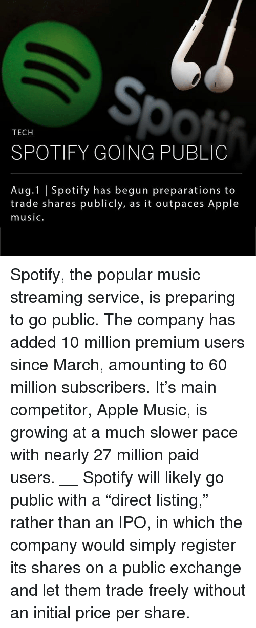 """Teching: So  TECH  SPOTIFY GOING PUBLIC  Aug.1 