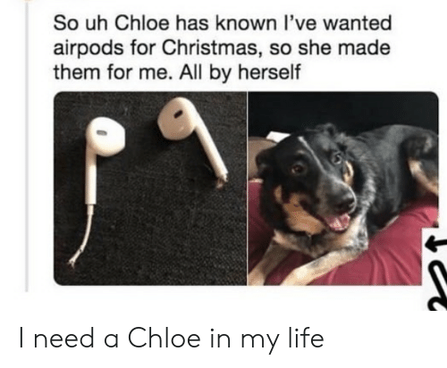 Christmas, Life, and Wanted: So uh Chloe has known l've wanted  airpods for Christmas, so she made  them for me. All by herself I need a Chloe in my life