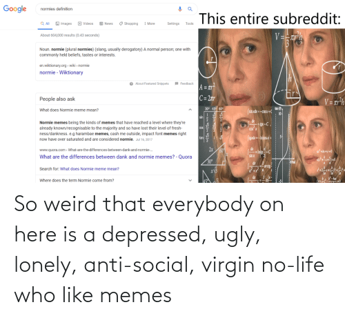 Life: So weird that everybody on here is a depressed, ugly, lonely, anti-social, virgin no-life who like memes
