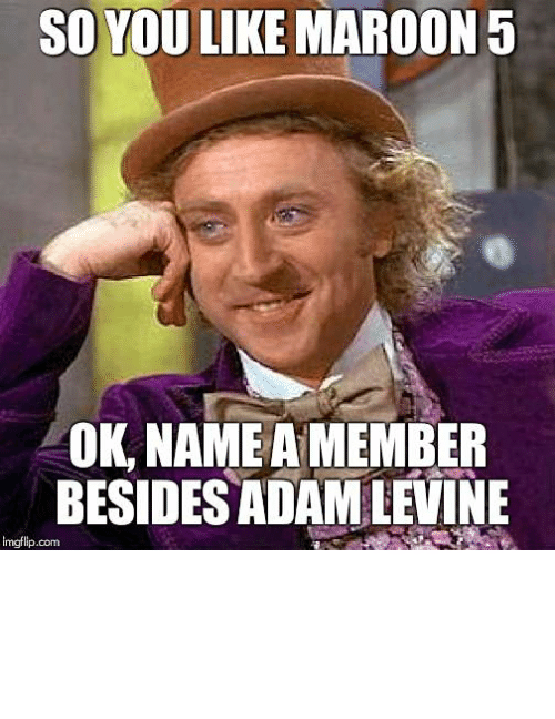 Adam Levine, Looking, and Com: SO YOU LIKE MAROON5  OK, NAMEA MEMBER  BESIDES ADAM LEVINE  imgflip.com well try and name them, without looking them up - Imgflip