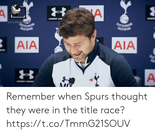 Soccer, Spurs, and Race: SOCCERH !  AIA  AIA  3 Remember when Spurs thought they were in the title race? https://t.co/TmmG21SOUV