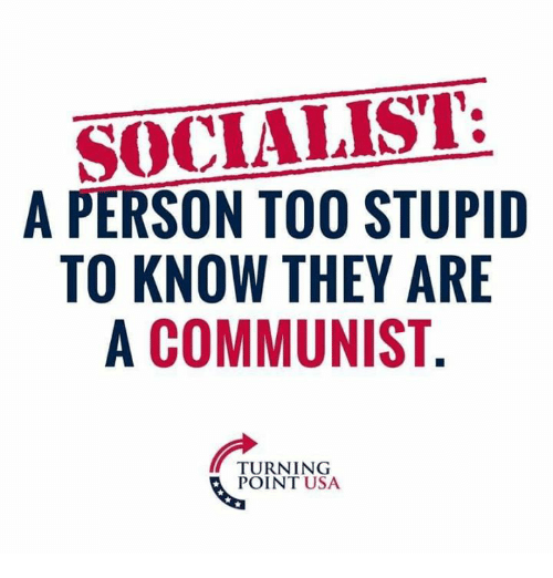Memes, Communist, and Socialist: SOCIALIST:  A PERSON TOO STUPIID  TO KNOW THEY ARE  A COMMUNIST  TURNING  POINT USA