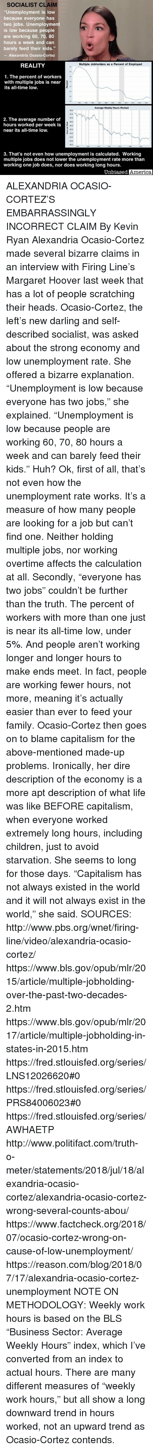 """America, Children, and Family: SOCIALIST CLAIM  """"Unemployment is low  because everyone has  two jobs. Unemployment  is low because people  are working 60, 70, 80  hours a week and can  barely feed their kids.""""  -Alexandria Ocasio-Cortez  REALITY  Multiple Jobholders as a Percent of Employed  1. The percent of workers  with multiple jobs is near  its all-time low.  Average Weekly Hours Worked  7.5  37,0  36.5  2. The average number of  hours worked per week is  near its all-time low.  35.5  35.0  45  34.0  3. That's not even how unemployment is calculated. Working  multiple jobs does not lower the unemployment rate more than  working one job does, nor does working long hours.  Unbiased  America ALEXANDRIA OCASIO-CORTEZ'S EMBARRASSINGLY INCORRECT CLAIM By Kevin Ryan  Alexandria Ocasio-Cortez made several bizarre claims in an interview with Firing Line's Margaret Hoover last week that has a lot of people scratching their heads.  Ocasio-Cortez, the left's new darling and self-described socialist, was asked about the strong economy and low unemployment rate.  She offered a bizarre explanation.  """"Unemployment is low because everyone has two jobs,"""" she explained.  """"Unemployment is low because people are working 60, 70, 80 hours a week and can barely feed their kids.""""  Huh?  Ok, first of all, that's not even how the unemployment rate works.  It's a measure of how many people are looking for a job but can't find one.  Neither holding multiple jobs, nor working overtime affects the calculation at all.  Secondly, """"everyone has two jobs"""" couldn't be further than the truth.  The percent of workers with more than one just is near its all-time low, under 5%.  And people aren't working longer and longer hours to make ends meet.  In fact, people are working fewer hours, not more, meaning it's actually easier than ever to feed your family.  Ocasio-Cortez then goes on to blame capitalism for the above-mentioned made-up problems.  Ironically, her dire description of the economy is a mo"""