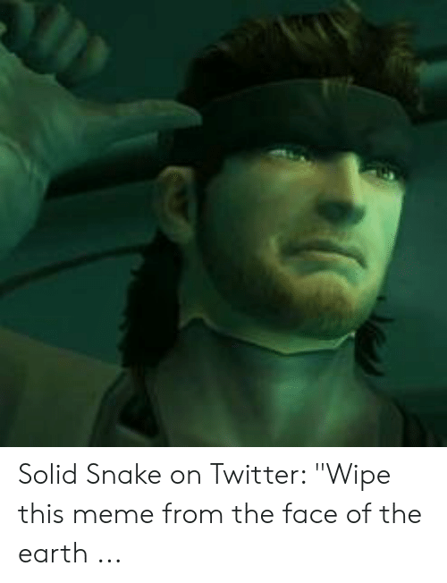Solid Snake On Twitter Wipe This Meme From The Face Of The