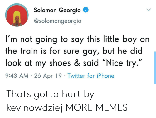 "Dank, Iphone, and Memes: Solomon Georgio  @solomongeorgio  I'm not going to say this little boy on  the train is for sure gay, but he did  look at my shoes & said ""Nice try  9:43 AM 26 Apr 19 Twitter for iPhone Thats gotta hurt by kevinowdziej MORE MEMES"