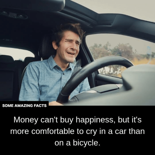 Money Cant Buy: SOME AMAZING FACTS  Money can't buy happiness, but it's  more comfortable to cry in a car than  on a bicycle.