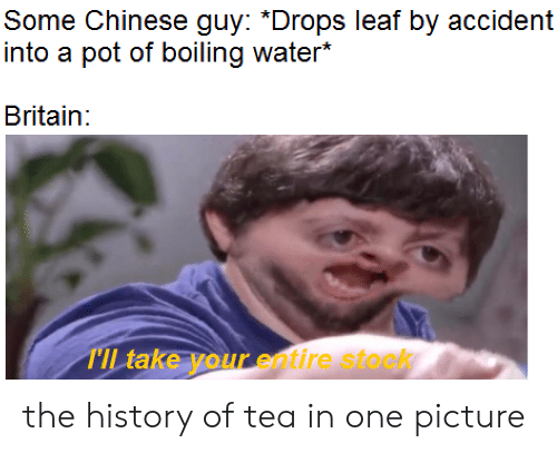 Chinese, History, and Water: Some Chinese guy: *Drops leaf by accident  into a pot of boiling water*  Britain:  TIL take your entire stock the history of tea in one picture