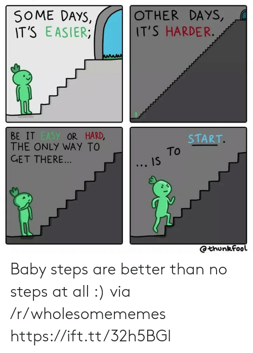 Baby, Baby Steps, and Easy: SOME DAYS,  IT'S EASIER  OTHER DAYS,  IT'S HARDER.  BE IT EASY OR HARD,  THE ONLY WAY TO  GET THERE...  START.  To  IS  Qthunkfool Baby steps are better than no steps at all :) via /r/wholesomememes https://ift.tt/32h5BGl