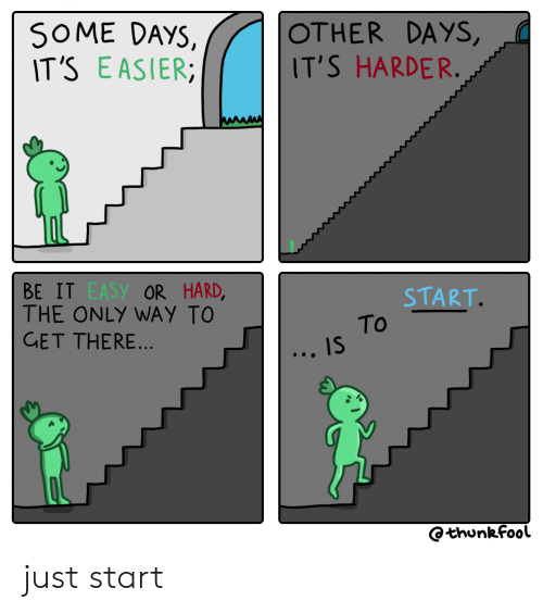 Easy, Get, and Just: SOME DAYS,  IT'S EASIER  OTHER DAYS,  IT'S HARDER.  BE IT EASY OR HARD,  THE ONLY WAY TO  GET THERE...  START.  To  IS  Othunkfool just start