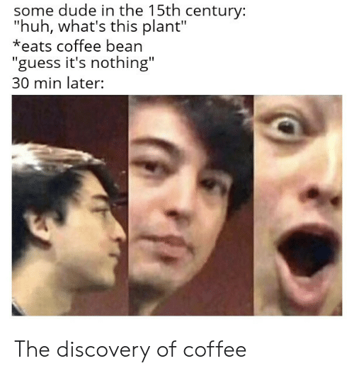 "Dude, Huh, and Coffee: some dude in the 15th century:  ""huh, what's this plant""  *eats coffee bean  ""guess it's nothing""  30 min later: The discovery of coffee"