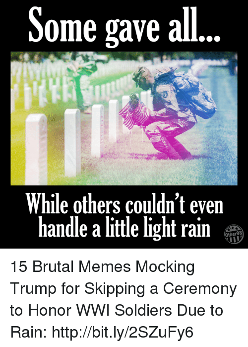 Memes, Soldiers, and Http: Some gave all  While others couldn't even  handle a little light rain  Other98 15 Brutal Memes Mocking Trump for Skipping a Ceremony to Honor WWI Soldiers Due to Rain: http://bit.ly/2SZuFy6