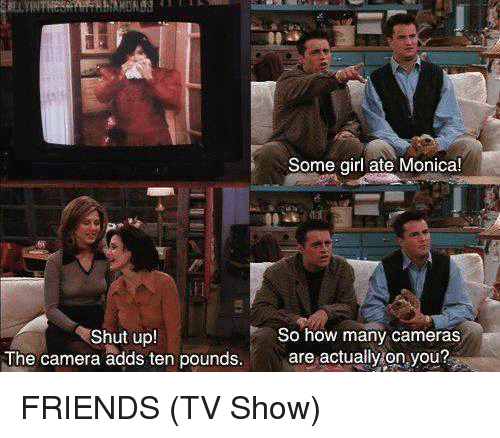 Friends (TV show): Some girl ate Monica!  Shut upl  The camera adds ten pounds.  So how many cameras  are actually on you? FRIENDS (TV Show)