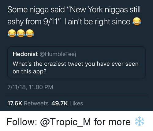 "7/11, 9/11, and New York: Some nigga said ""New York niggas still  ashy from 9/11"" I ain't be right since  Hedonist @HumbleTeej  What's the craziest tweet you have ever seen  on this app?  7/11/18, 11:00 PM  17.6K Retweets 49.7K Likes Follow: @Tropic_M for more ❄️"