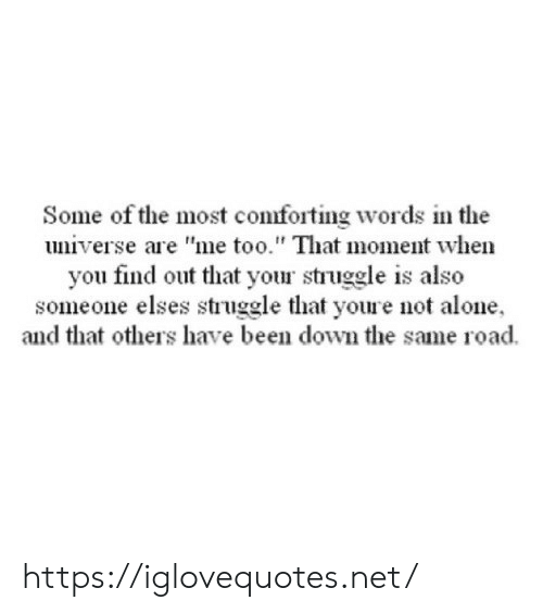 "Being Alone, Struggle, and Been: Some of the most comforting words in the  universe are ""me too."" That moment when  you find out that your struggle is also  someone elses struggle that youre not alone  and that others have been down the same road https://iglovequotes.net/"