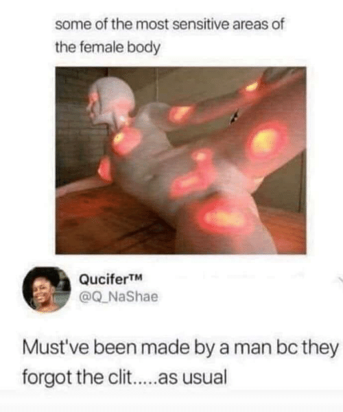 female: some of the most sensitive areas of  the female body  QuciferTM  @Q_NaShae  Must've been made by a man bc they  forgot the clit..as usual