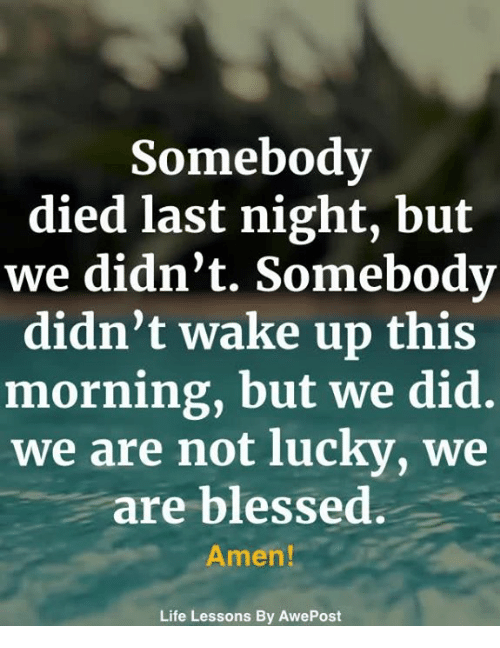 Blessed, Life, and Memes: Somebody  died last night, but  we didn't. Somebody  didn't wake up this  morning, but we did.  we are not lucky, we  are blessed.  Amen!  Life Lessons By AwePost