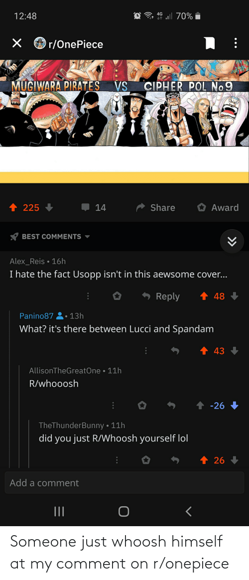 Onepiece: Someone just whoosh himself at my comment on r/onepiece