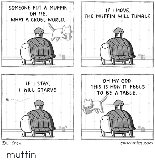 Ifi: SOMEONE PUT A MUFFIN  ON ME  WHAT A CRUEL WORLD.  IFI MOVE  THE MUFFIN WILL TUMBLE  000  OH MY GOD  THIS IS HOW IT FEELS  TO BE A TABLE  IF I STAY,  I WILL STARVE  Li Chen  Cxocomics.com muffin