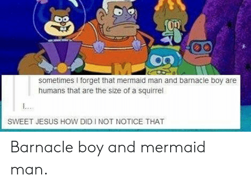 mermaid man: sometimes forget that mermaid man and barnacle boy are  humans that are the size of a squirrel  SWEET JESUS HOW DID INOT NOTICE THAT Barnacle boy and mermaid man.
