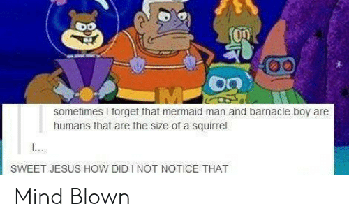 Jesus, Squirrel, and Mind: sometimes I forget that mermaid man and barnacle boy are  humans that are the size of a squirrel  SWEET JESUS HOW DID I NOT NOTICE THAT Mind Blown