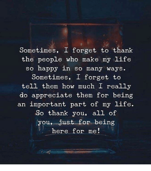 Life, Thank You, and Appreciate: Sometimes, I forget to thank  the people who make my Life  so nappy in so many ways.  Sometimes, I forget to  tell them how much I really  do appreciate them for being  an important part of my life.  So thank you, all of  you, just for being  here for me!
