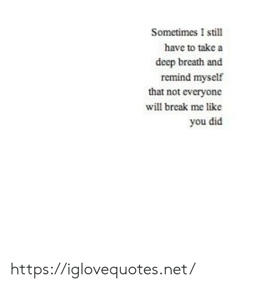 Break, Net, and Deep: Sometimes I still  have to take a  deep breath and  remind myself  that not everyone  will break me like  you did https://iglovequotes.net/