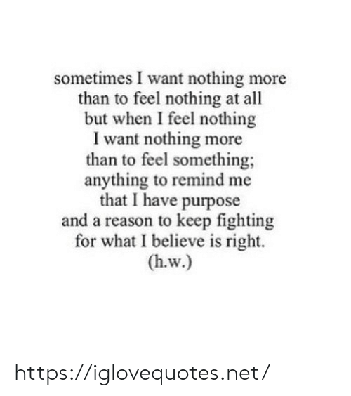 purpose: sometimes I want nothing more  than to feel nothing at all  but when I feel nothing  I want nothing more  than to feel something  anything to remind me  that I have purpose  and a reason to keep fighting  for what I believe is right.  (h.w.) https://iglovequotes.net/