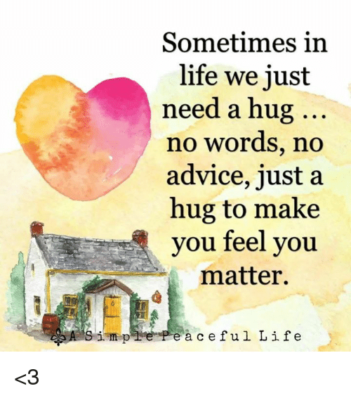 Advice, Life, and Memes: Sometimes in  life we just  need a hug  no words, no  advice, just a  hug to make  you feel you  matter.  impPeà ceful Life <3