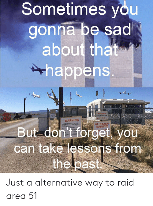 Dogs, Dank Memes, and Sad: Sometimes you  gonna be sad  about that  happens.  WARNING  Miltary Working Dogs  Do Not Enter  STOP  WARNING  www.cep  NO FIREARMS  PERMITTED  But don't forget, you  can take lessons from  the lpast Just a alternative way to raid area 51