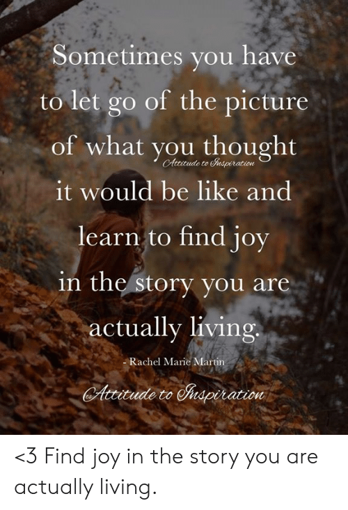 Be Like, Martin, and Memes: Sometimes you have  to let go of the picture  of what you thought  CAttitude to napiration  it would be like and  learn to find joy  in the story you are  actually living  -Rachel Marie Martin  Attitude to nspiration <3 Find joy in the story you are actually living.