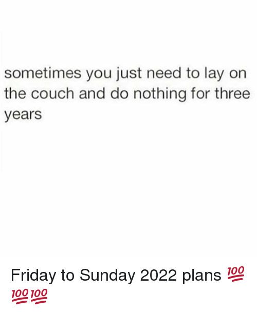 Friday, Memes, and Couch: sometimes you just need to lay on  the couch and do nothing for three  years Friday to Sunday 2022 plans 💯💯💯