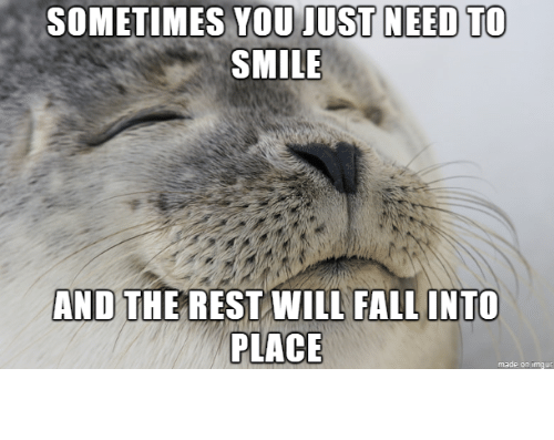 Just Need: SOMETIMES YOU JUST NEED TO  SMILE  AND THE REST WILL FALL INTO  PLACE  made on imgur Smile!