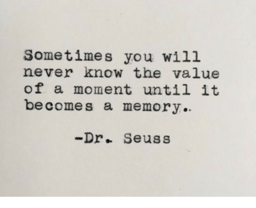 Dr. Seuss, Never, and Memory: Sometimes you will  never know the value  of a moment until it  be comes a memory  -Dr.. Seuss