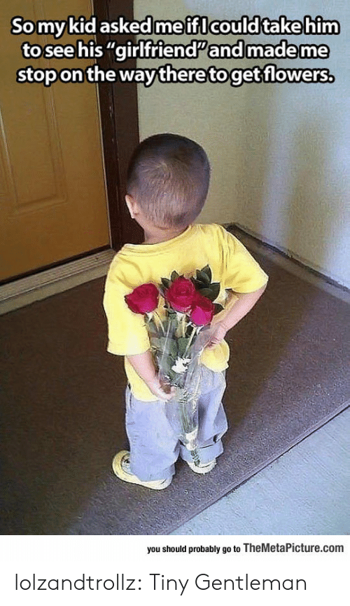 """Tumblr, Blog, and Flowers: Somykid askedme ifl could takehim  to see his """"girlfriendand made me  stop on the way theretoget flowers,  you should probably go to TheMetaPicture.com lolzandtrollz:  Tiny Gentleman"""