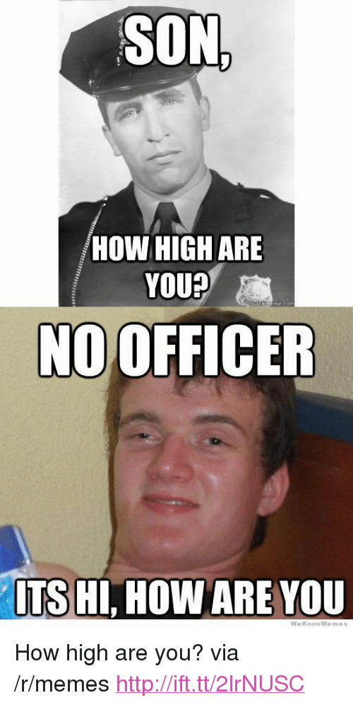 """How High, Memes, and Http: SON  HOW HIGH ARE  YOU?  cuik  NO OFFICER  TS HI, HOW ARE VOU  WeKnowMemes <p>How high are you? via /r/memes <a href=""""http://ift.tt/2lrNUSC"""">http://ift.tt/2lrNUSC</a></p>"""